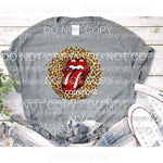 Rolling stones Leopard Full Color Screen Print can go on any fabric any color Heat Transfer