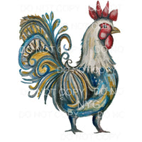 Rooster Blue Gold Sublimation transfers - Heat Transfer