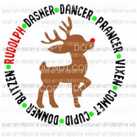 Rudolph and Reindeer Sublimation transfers Heat Transfer