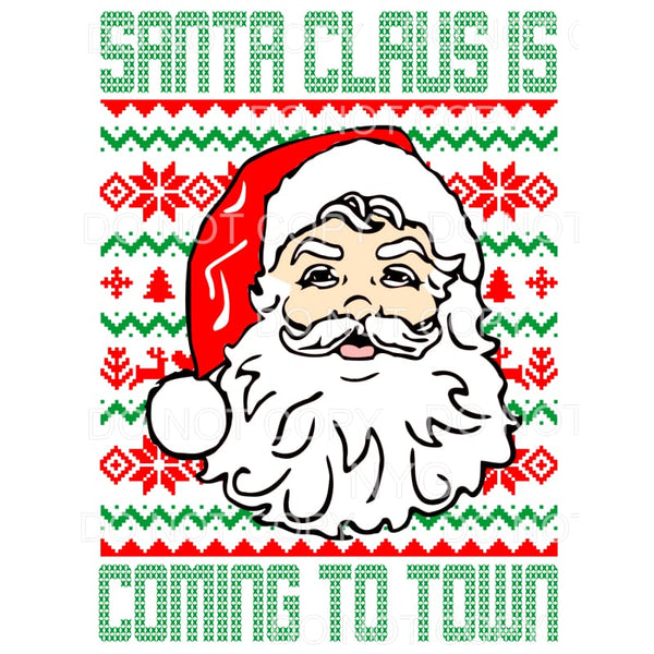 Santa Claus Is Coming To Town Christmas Print Background