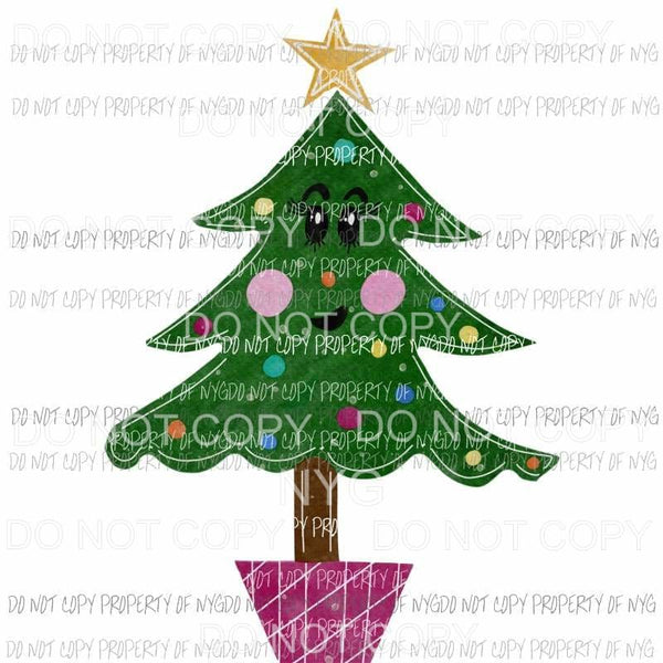 Sassy Christmas Tree girl pink lights Sublimation transfers Heat Transfer