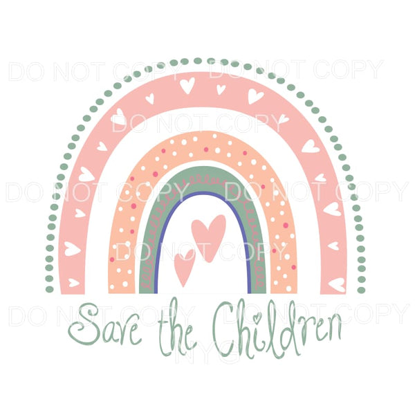 Save The Children Pink Rainbow Sublimation transfers - Heat