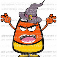 Scary Candy Corn wearing witch hat orange yellow Sublimation transfers Heat Transfer