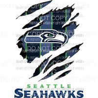 Seattle Seahawks ripped design Sublimation transfers Heat Transfer