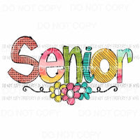 SENIOR flowers multi color print # 2 Sublimation transfers Heat Transfer