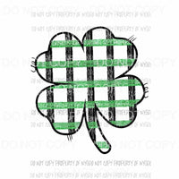 Shamrock #7 green plaid Sublimation transfers Heat Transfer