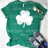 Shamrock Grunge white SCREEN PRINT - adult 13x9 inches -