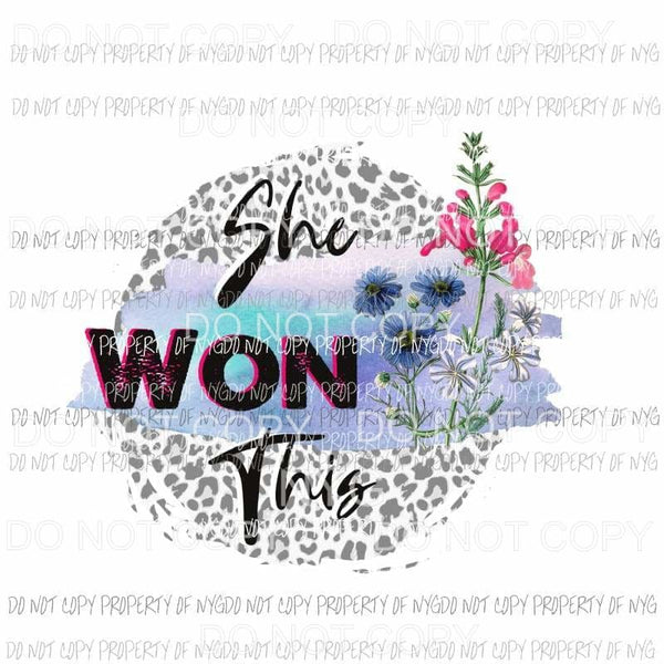 She Won This leopard circle flowers Sublimation transfers Heat Transfer