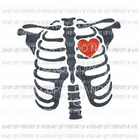 Skeleton # 1 blue red heart Sublimation transfers Heat Transfer