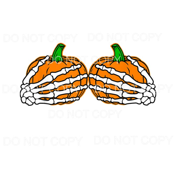 Skeleton Hands Pumpkins Sublimation transfers - Heat