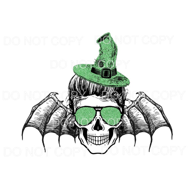 skull witch bat Green Halloween fall Sublimation transfers -