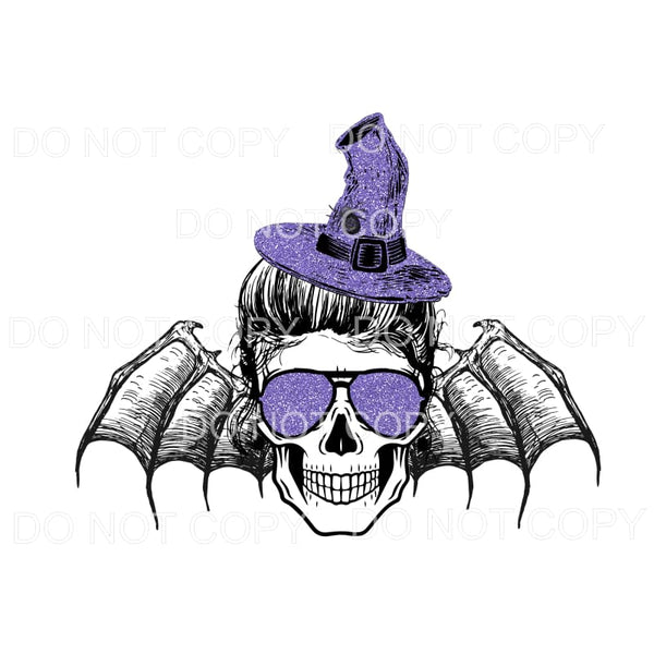 skull witch bat Purple Halloween fall Sublimation transfers