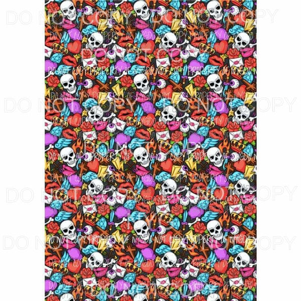 Skulls Lips Flames Sheet Sublimation transfers 13 x 9 inches Heat Transfer