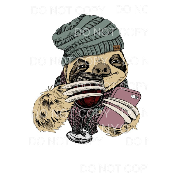 Sloth Wine Beanie Hat Cell Phone Sublimation transfers -