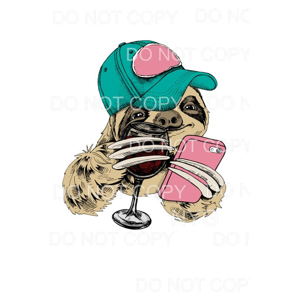 Sloth Wine Beanie Trucker Hat Cell Phone Sublimation