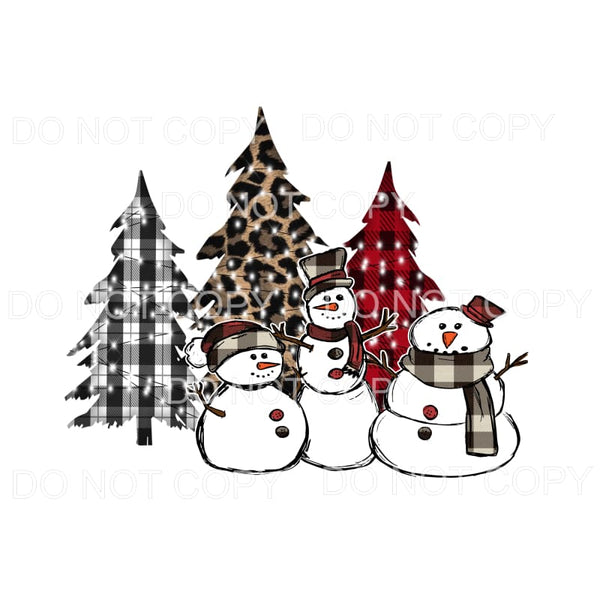 snowman trio with trees Sublimation transfers - Heat