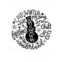 Snowman Typography Words Circle Sublimation transfers - Heat