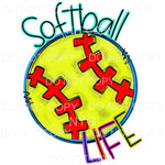 Softball Life Doodle Sublimation transfers - Heat Transfer