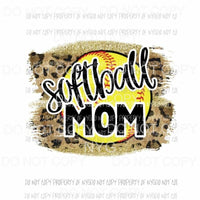 Softball Mom leopard Sublimation transfers Heat Transfer