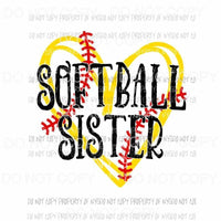 Softball Sister #2 heart yellow red Sublimation transfers Heat Transfer
