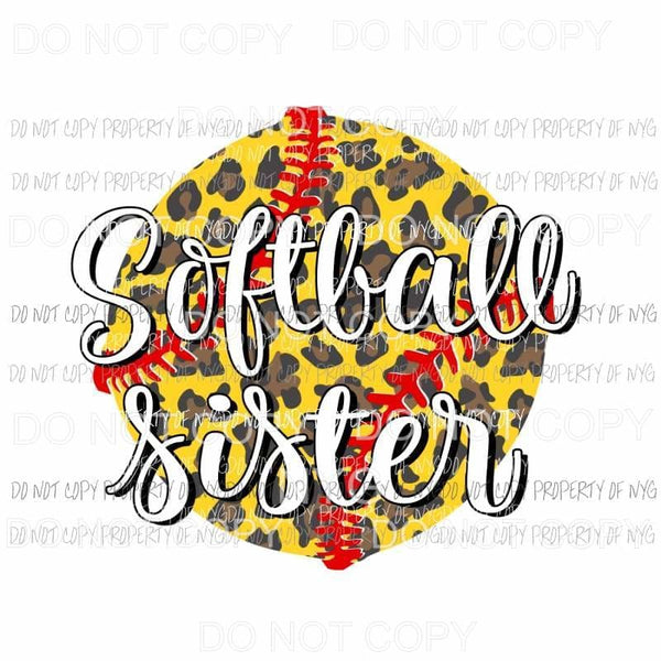 Softball Sister #3 leopard Sublimation transfers Heat Transfer
