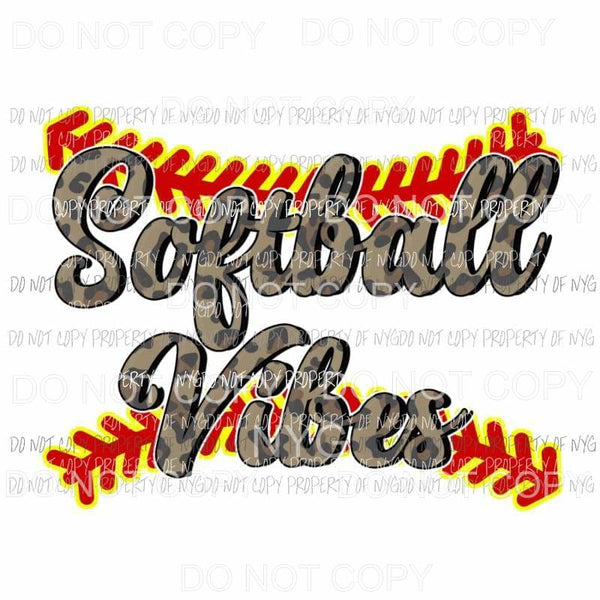 Softball Vibes leopard yellow red Sublimation transfers Heat Transfer