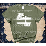 Stand and Kneel Flag cross White SCREEN PRINT - adult 13x9