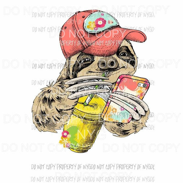 summertime sloth baseball hat Sublimation transfers Heat Transfer