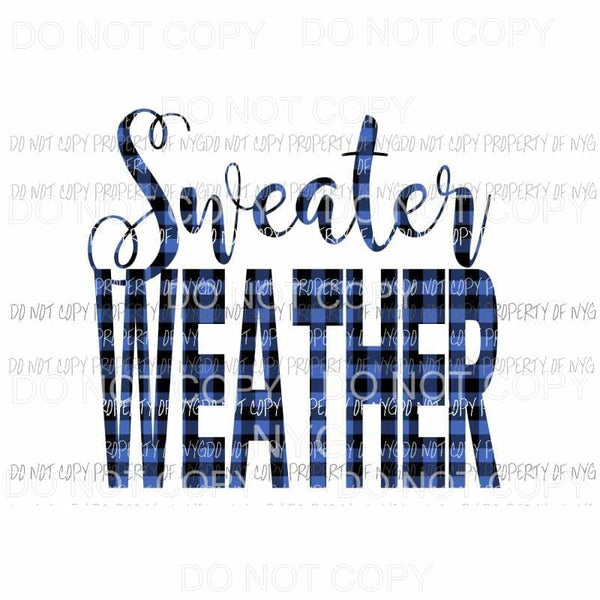 Sweater Weather Plaid Blue Sublimation transfers Heat Transfer