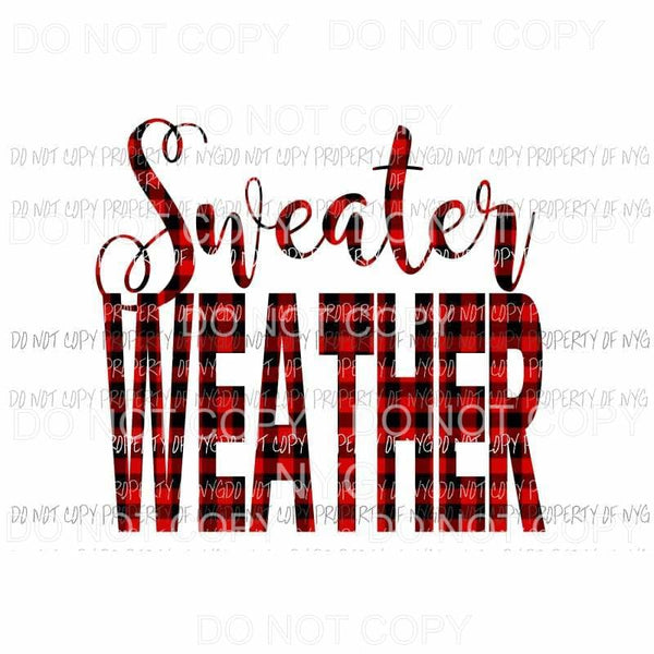 Sweater Weather Plaid Red Sublimation transfers Heat Transfer