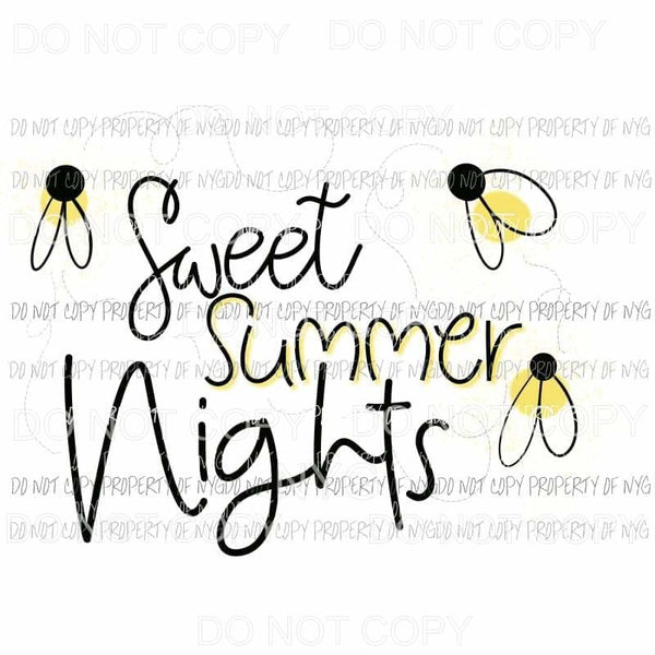 Sweet Summer Nights lightning bugs Sublimation transfers Heat Transfer