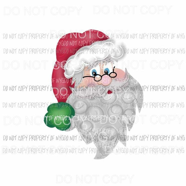 Swirly Santa beard red hat Christmas Sublimation transfers Heat Transfer