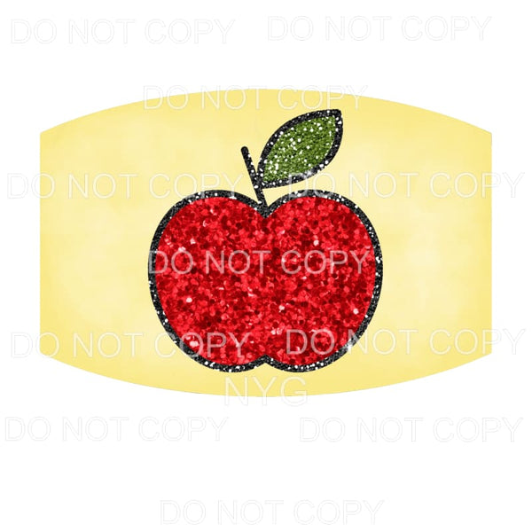 Teacher Face Mask #3 Red Glitter Apple Sublimation transfers