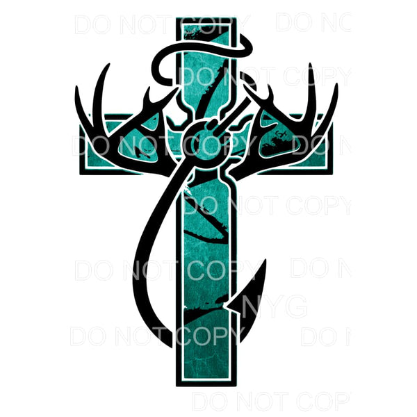 Teal Cross Deer Fishing Hook Sublimation transfers - Heat