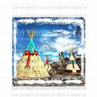 Teepee art watercolor sky background desert cactus Sublimation transfers Heat Transfer