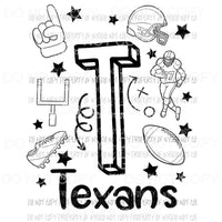 Texans football spirit doodle Sublimation transfers Heat Transfer