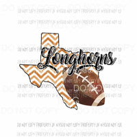 Texas Longhorns football chevron state Sublimation transfers Heat Transfer