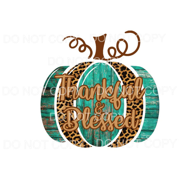 Thankful & Blessed Pumpkin Leopard Rustic Wood Sublimation