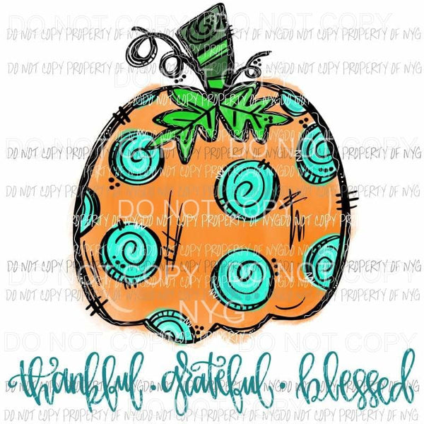 thankful grateful blessed pumpkin 4 Halloween Fall Sublimation transfers Heat Transfer