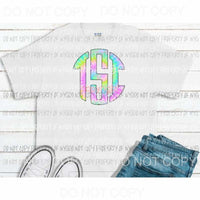 Tie Dye Pastel monogram letters put letters in notes please Sublimation transfers Heat Transfer