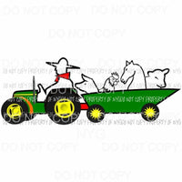 Tractor with animals Sublimation transfers Heat Transfer