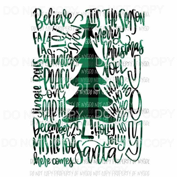Tree Type Christmas Plaid Green Sublimation transfers Heat Transfer