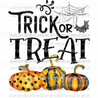 Trick or Treat pumpkin trio spider web bat Sublimation transfers Heat Transfer
