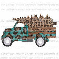 Truck antique turquoise tree leopard Sublimation transfers Heat Transfer