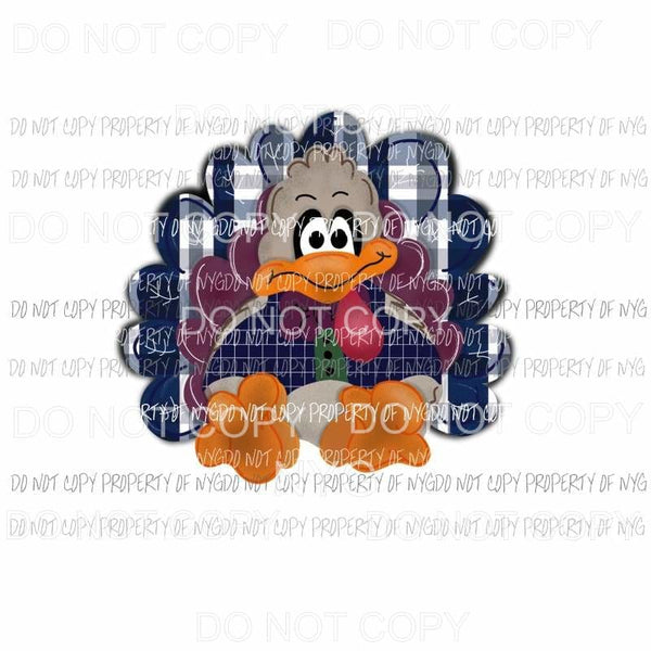 Turkey blue plaid background Thanksgiving Sublimation transfers Heat Transfer