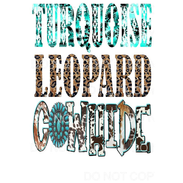 Turquoise Leopard Cowhide Sublimation transfer - Heat