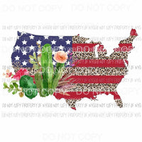 USA Map leopard cactus Sublimation transfers Heat Transfer