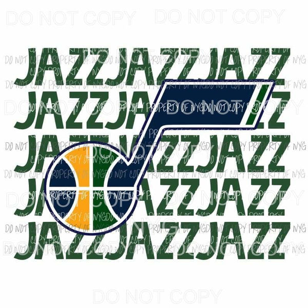 Utah Jazz stacked Sublimation transfers Heat Transfer