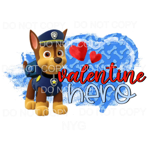 Valentine Hero Chase Paw Patrol Sublimation transfers - Heat