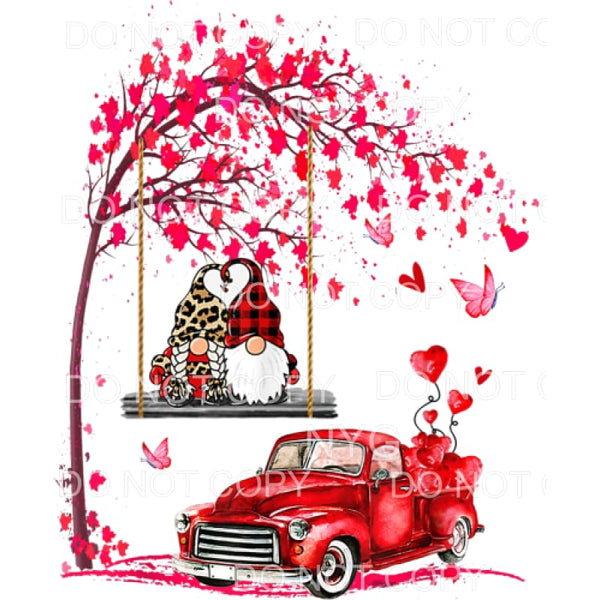 Valentines Day Red Leopard Gnomes Swinging Vintage Truck
